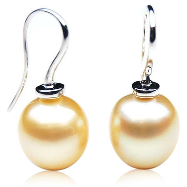 GE104 (AA+ 14mm Drop Australian Golden South Sea Pearl Earrings In White Gold)