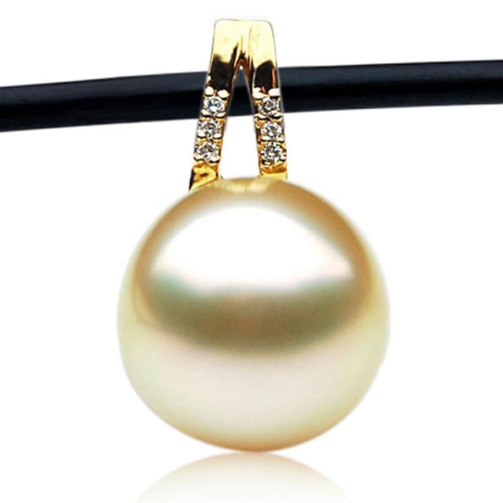 GP086(13mm Semi Round Australian Golden South Sea Pearl Pendant and diamonds )