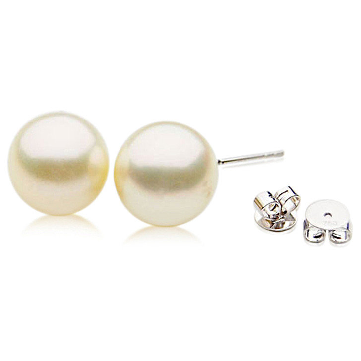 SE110a (AAA 11mm Cream Australian South Sea Pearl Earrings  in 18k White gold )