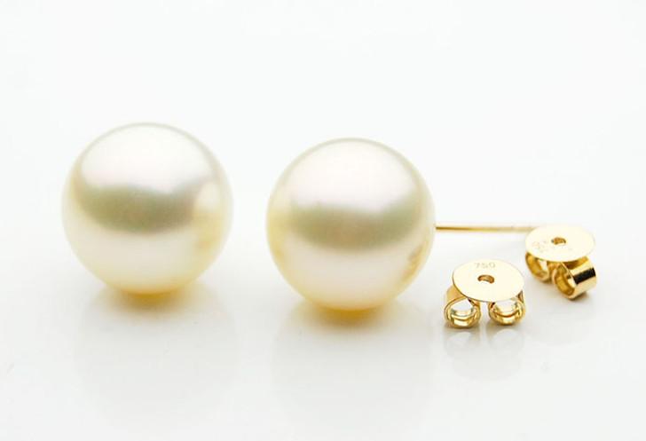 SE110b (AAA 11mm Cream Australian South Sea Pearl Earrings  in 18k gold )