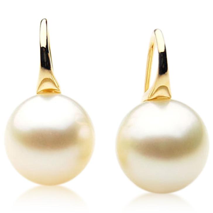 SE110f (AAA 11mm Cream Australian South Sea Pearl Earrings  in 18k gold )