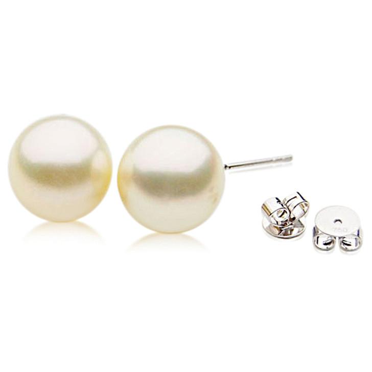 SE110h (AAA 12mm Cream Australian South Sea Pearl Earrings  in 18k White gold )