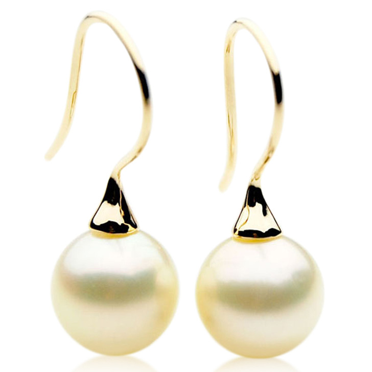 SE110k (AAA 12mm Cream Australian South Sea Pearl Earrings  in 18k gold )