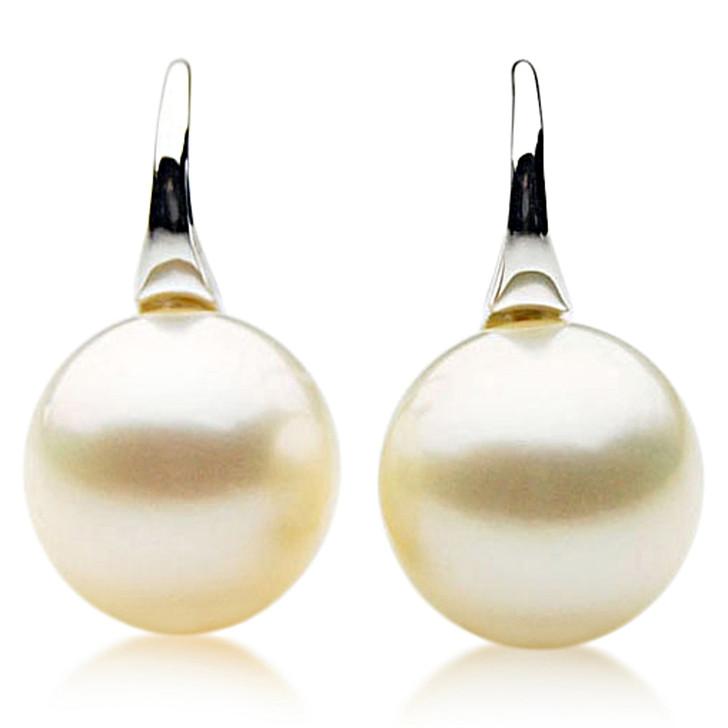 SE110l (AAA 12mm Cream Australian South Sea Pearl Earrings  in 18k White gold )