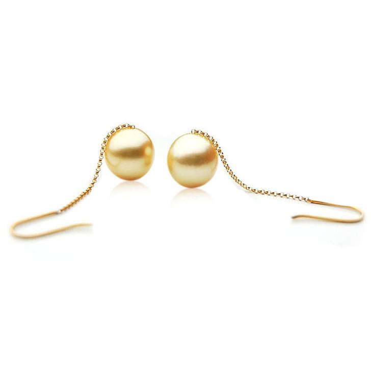 GE102b (AA+ 13mm Drop Australian Golden South Sea Pearl Earrings 18K Gold)