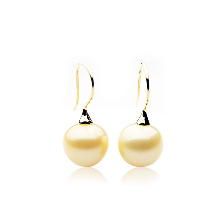 GE107 (AA+ 14mm Drop Australian South Sea Pearl Earrings In Gold)