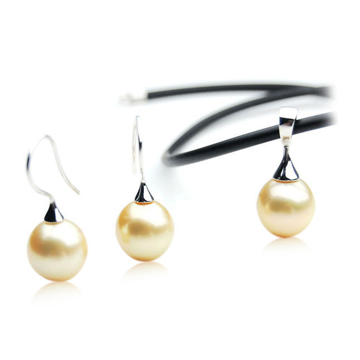 GE110 (AA+ 13.5mm Drop Australian South Sea Pearl Earrings Pendant Sets White Gold)