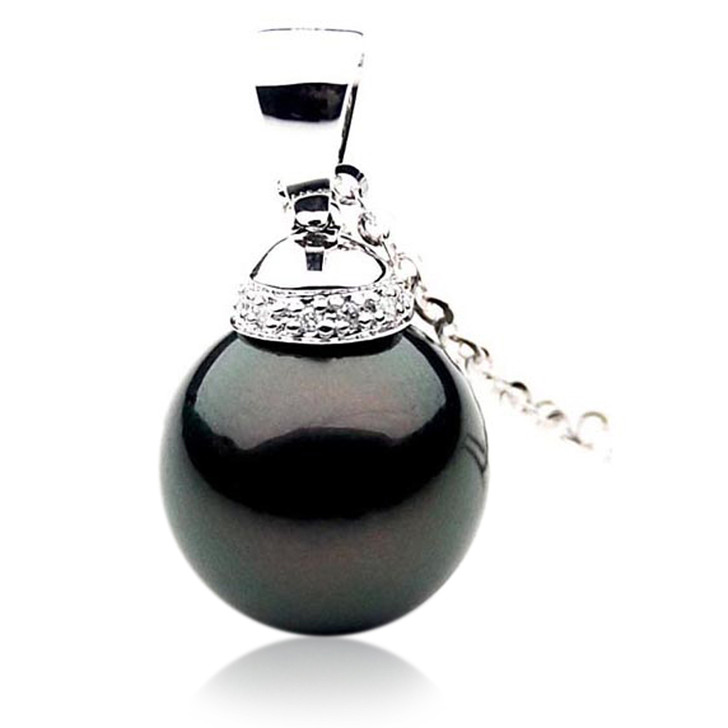 TP044a (AAA 12mm Tahitian Black pearl Pendant and Diamonds in 18k White Gold)