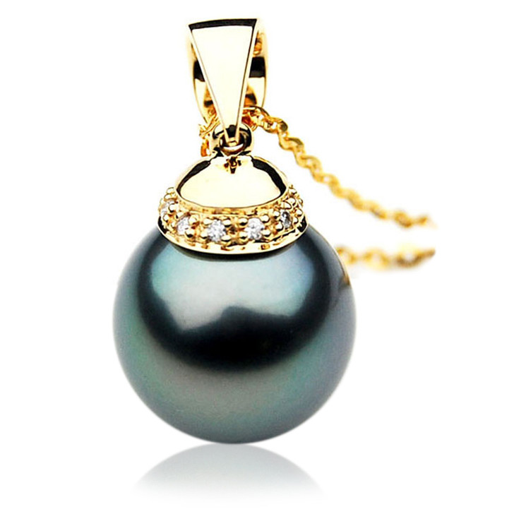 TP044b (AAA 12mm Tahitian Black pearl Pendant and Diamonds in 18k Gold)