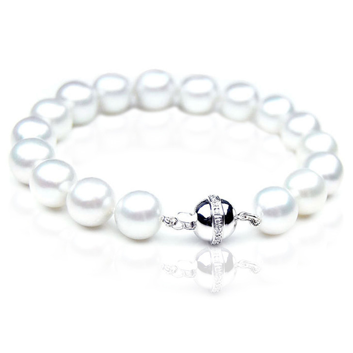 SB001 (AAA 9-11 mm Australian South Sea Pearl Bracelet Gold Diamond clasp )