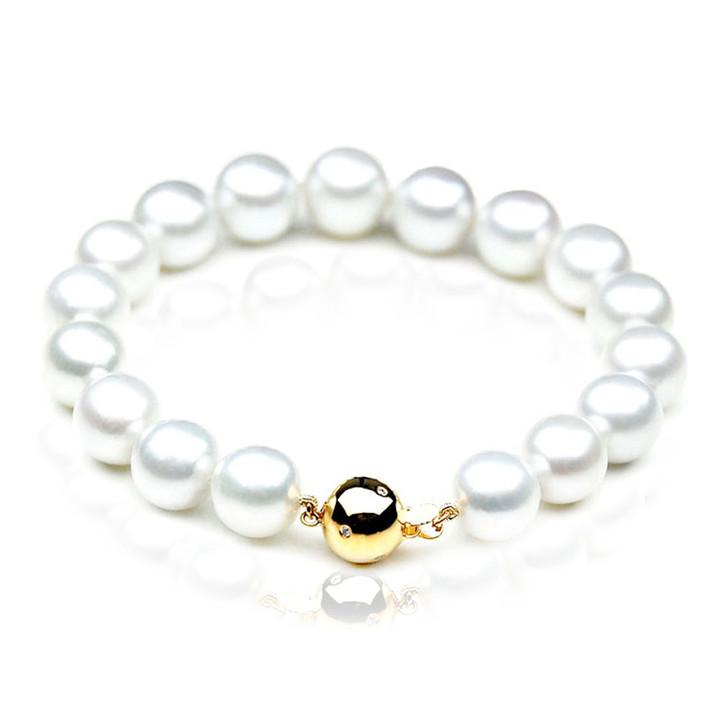 SB004 (AAA 9-11 mm Australian South Sea Pearl Bracelet  gold Diamond  Clasp