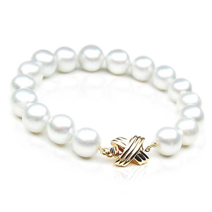SB006 (AAA 9-11 mm Australian South Sea Pearl Bracelet 18k  Gold clasp )