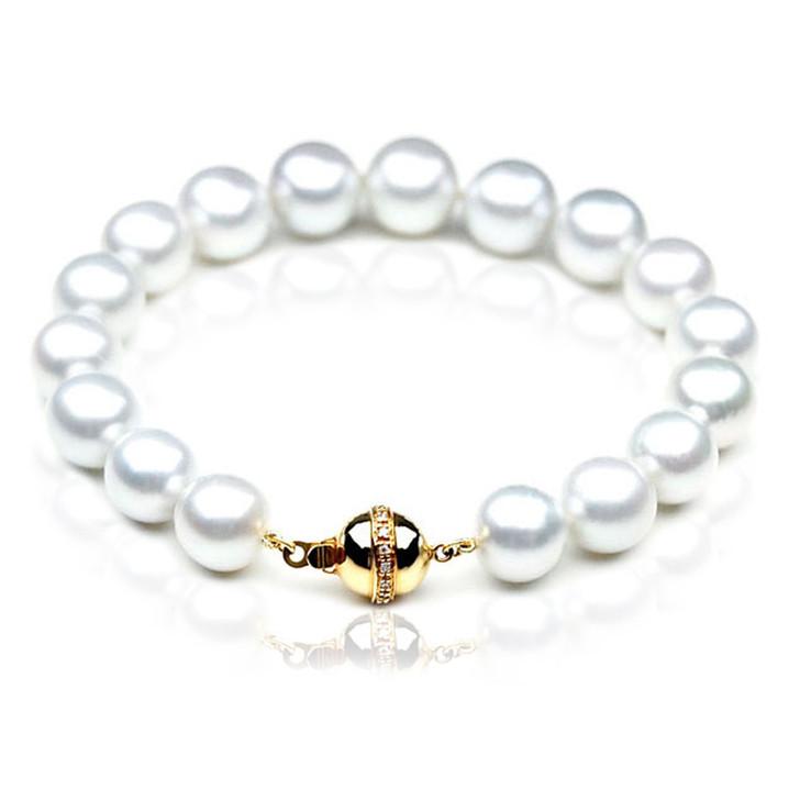 SB008 (AAA 10-12mm Australian South Sea Pearl Bracelet  gold Diamond  clasp )
