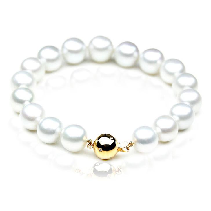 SB010 (AAA 10-12mm Australian South Sea Pearl Bracelet gold Diamond  clasp )