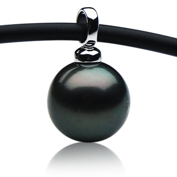 TP118  (14mm Tahitian Black pearl Pendant in 18k White Gold )