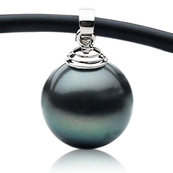 TP120  (13.5mm Tahitian Black pearl Pendant in 18k White Gold )