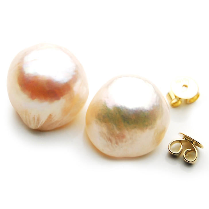 FE008d  ( 13mm Pink Freshwater Cultured Pearl  In 18K Gold)
