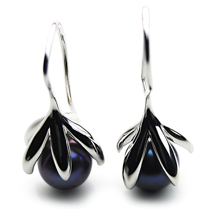 FES01b  (AAA 9-10mm Black Freshwater Cultured Pearl Earrings )