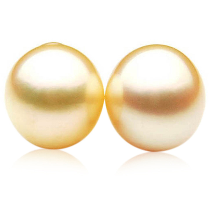 GL022 (AA+ 13.8 mm Australian Golden South Sea Pearl Loose pearls Pair )$1,599