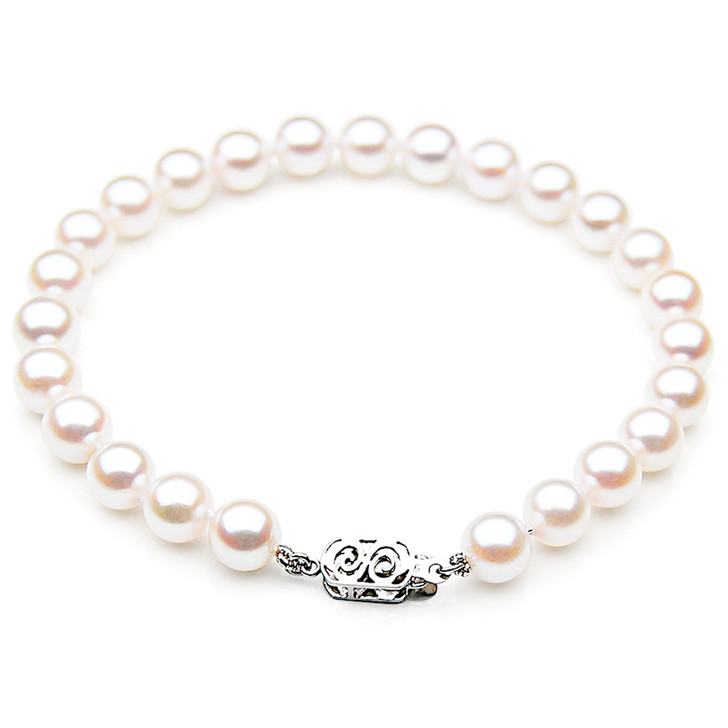 AB027-1 (AAA 8-8.5 mm Japanese Akoya Saltwater Pearl Bracelet White gold clasp )