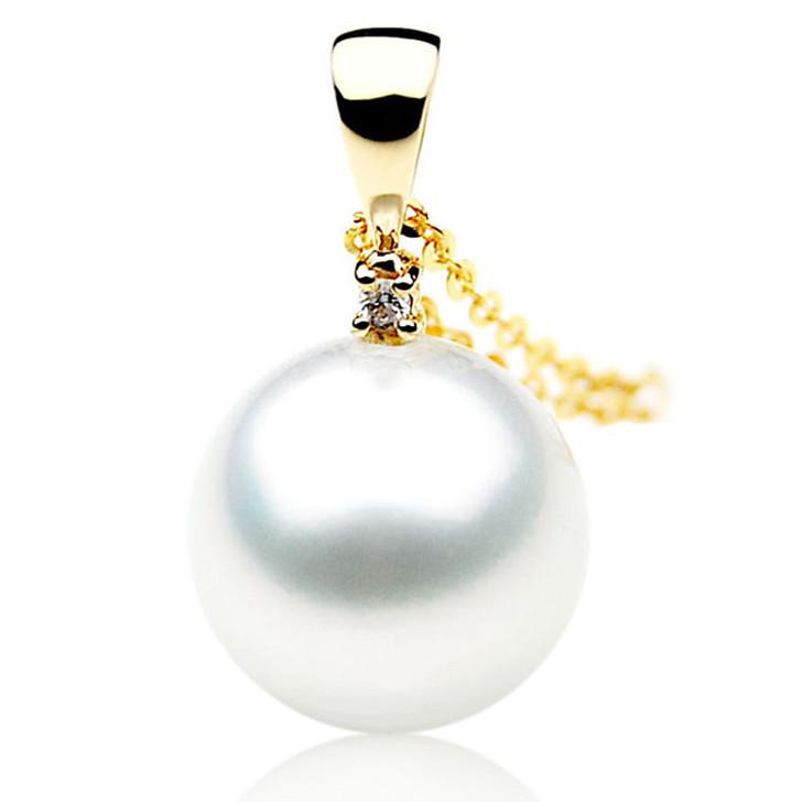 SP030 (AAA 12mm Australian South Sea pearl Pendant  Diamonds 18k Yellow Gold )