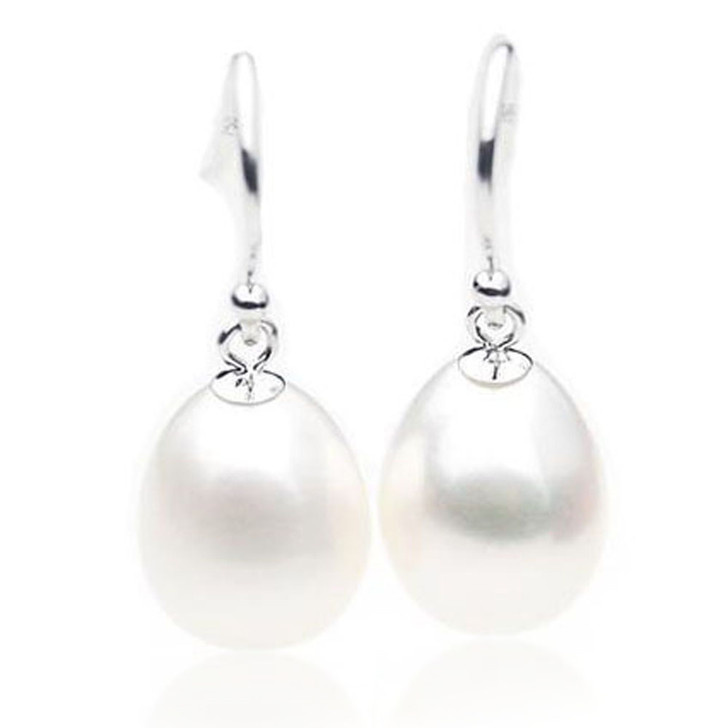 FE010 (AAA 10mm Drop White Freshwater Cultured Pearl Earrings 18K White Gold