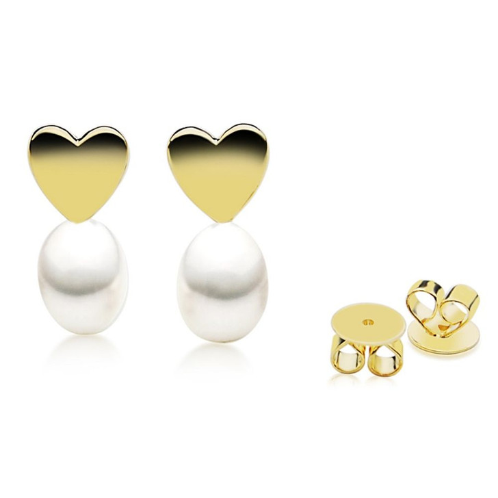 FEG02-1 (10x8 mm AAA White Freshwater Cultured Pearl Heart Earrings set in Silver gold plated)