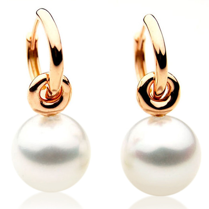 SE078a  (AAA 13mm Australian South Sea Pearl Earrings in 18k Rose Gold)