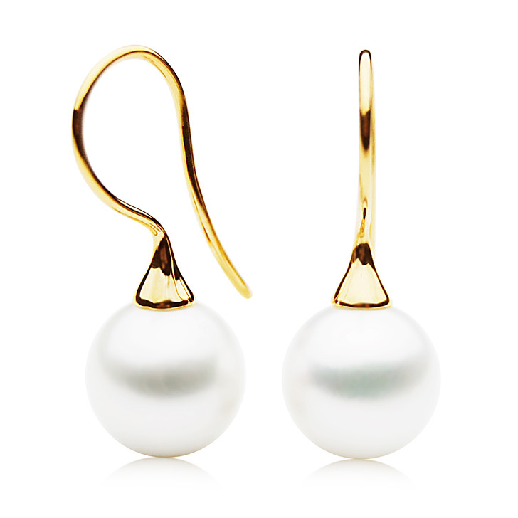 FE022 (AAA 11mm White Freshwater Cultured Pearl Earrings Yellow Gold )