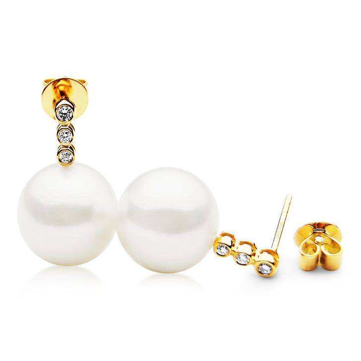 FE028 (AAA 11mm White Freshwater Cultured Pearl Earrings Yellow Gold And Diamonds)