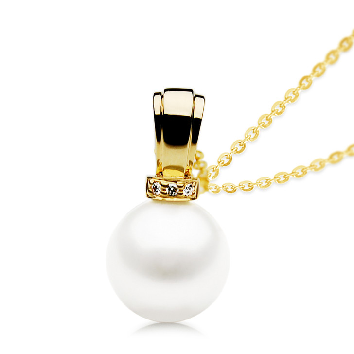FP012  (AAA 11mm White Freshwater Cultured Pearl Earrings Yellow Gold And Diamonds)