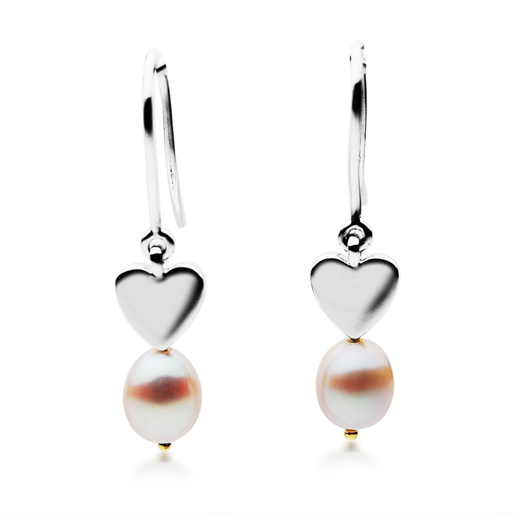 FEG05 (Drop 10x8 mm AAA Pink Freshwater Cultured Pearl Earrings Set in Silver With 18k (750) Yellow Gold)