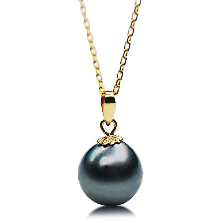 TP124 (AAA 14mm Tahitian Black pearl Pendant  in 18k Gold)