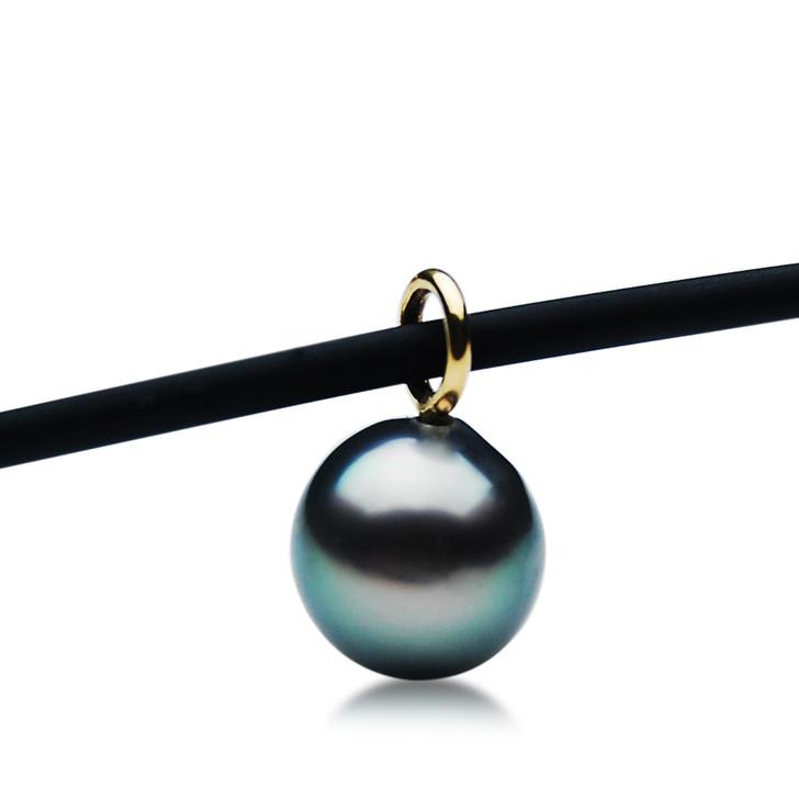 TP121 (AAA 11mm Tahitian Black pearl Pendant  in 18k Gold)