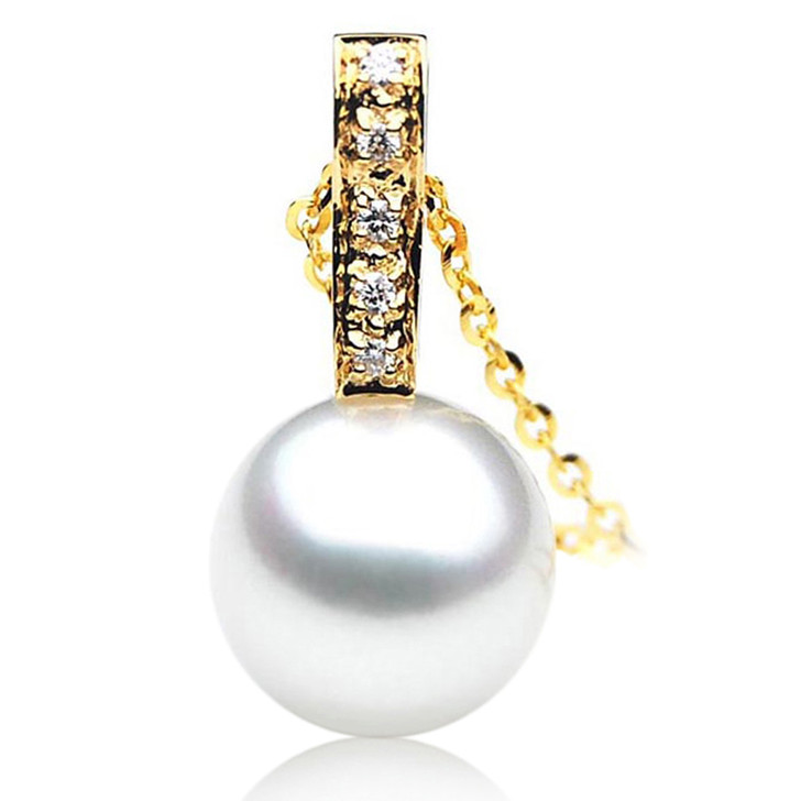 SP040 (AAA 12mm Australian South Sea pearl Pendant Diamonds  18k Gold )