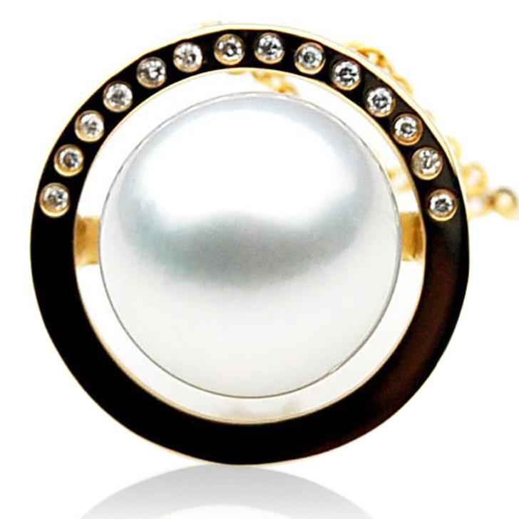 SP044 (AAA 12mm Australian South Sea pearl Pendant  Diamonds  18k Gold )