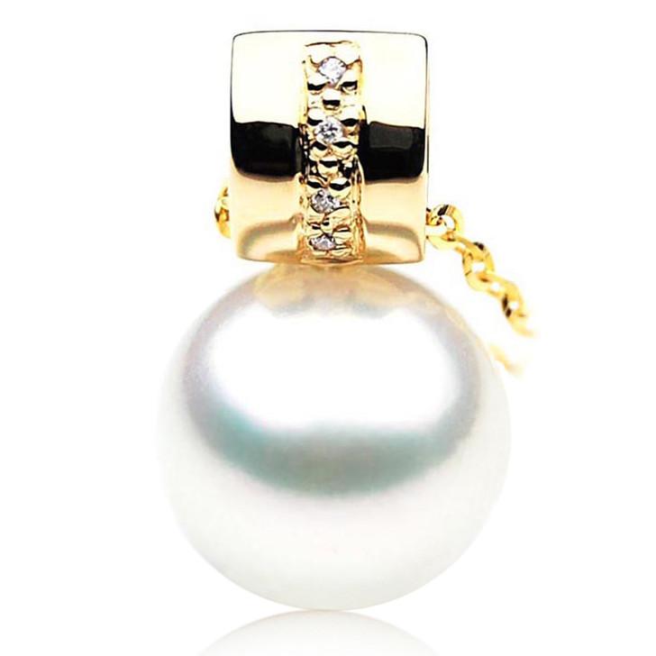 SP062 (AAA 13mm Australian South Sea pearl Pendant  Diamonds  18k Gold )