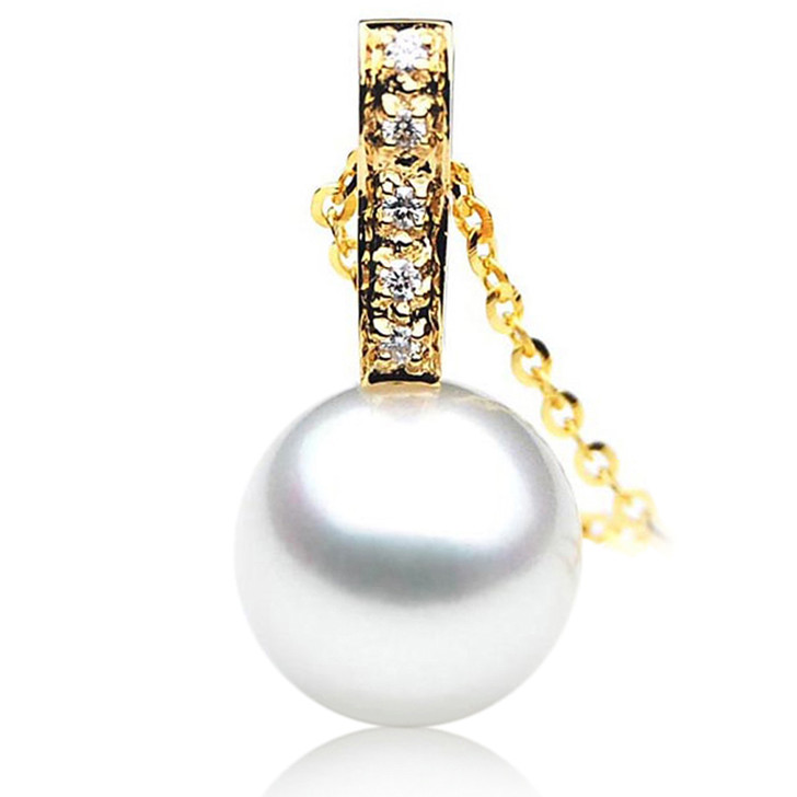 SP066 (AAA 13mm Australian South Sea pearl Pendant Diamonds  18k Gold )