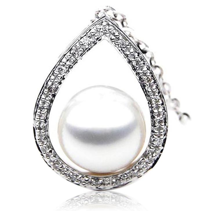 SP069 (AAA 13mm Australian South Sea pearl Pendant  Diamonds 18k White Gold )