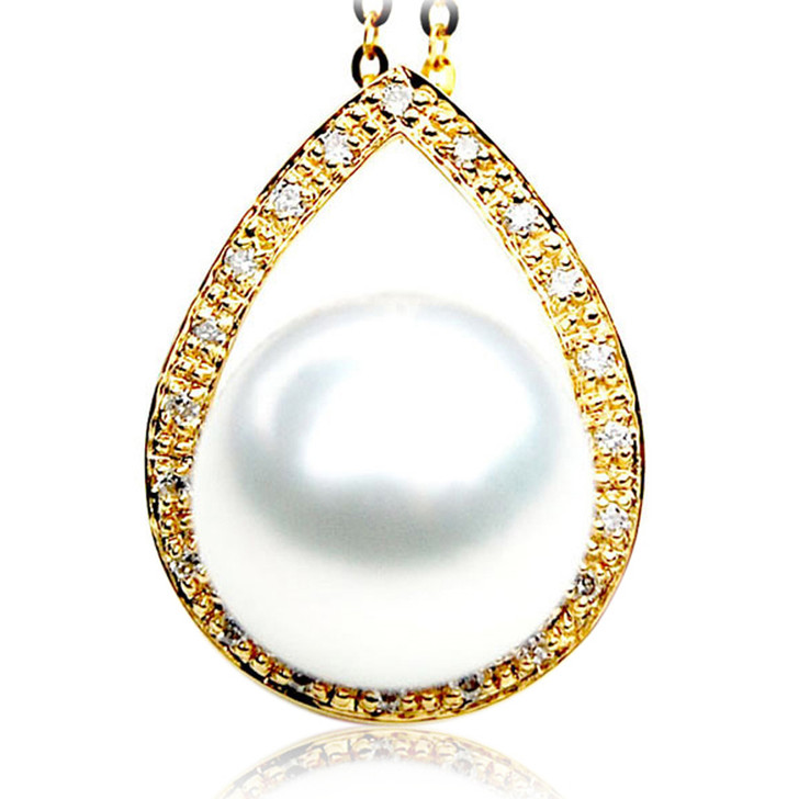 SP070 (AAA 13mm Australian South Sea pearl Pendant  Diamonds  18k Gold )