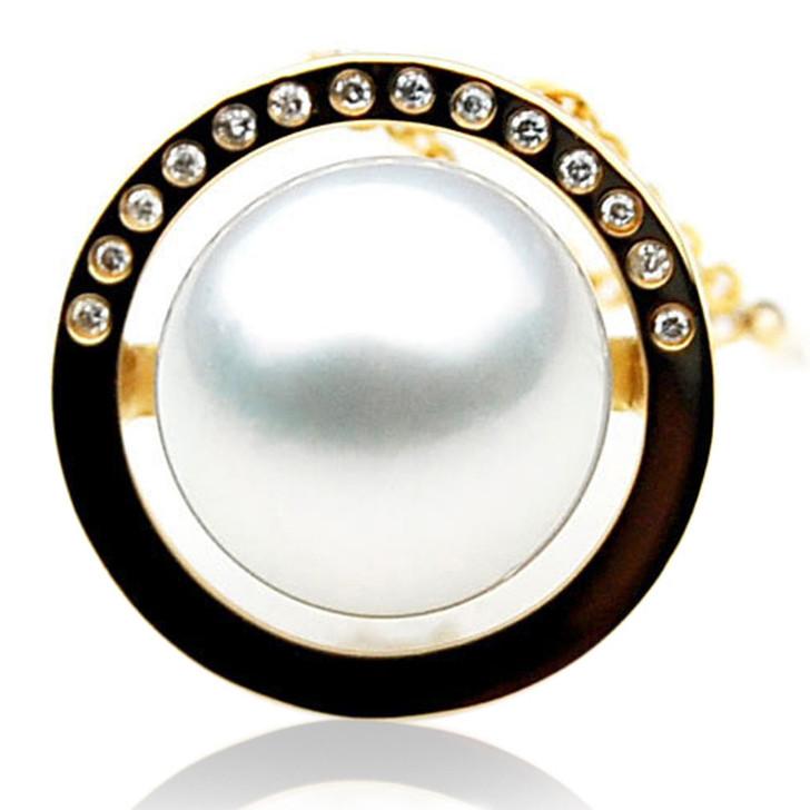 SP072 (AAA 13mm Australian South Sea pearl Pendant  Diamonds 18k Gold )