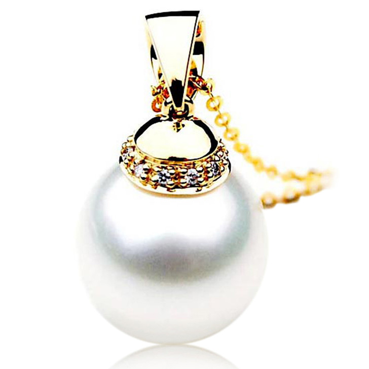 SP078 (AAA 13mm Australian South Sea pearl Pendant Diamonds 18k Gold )