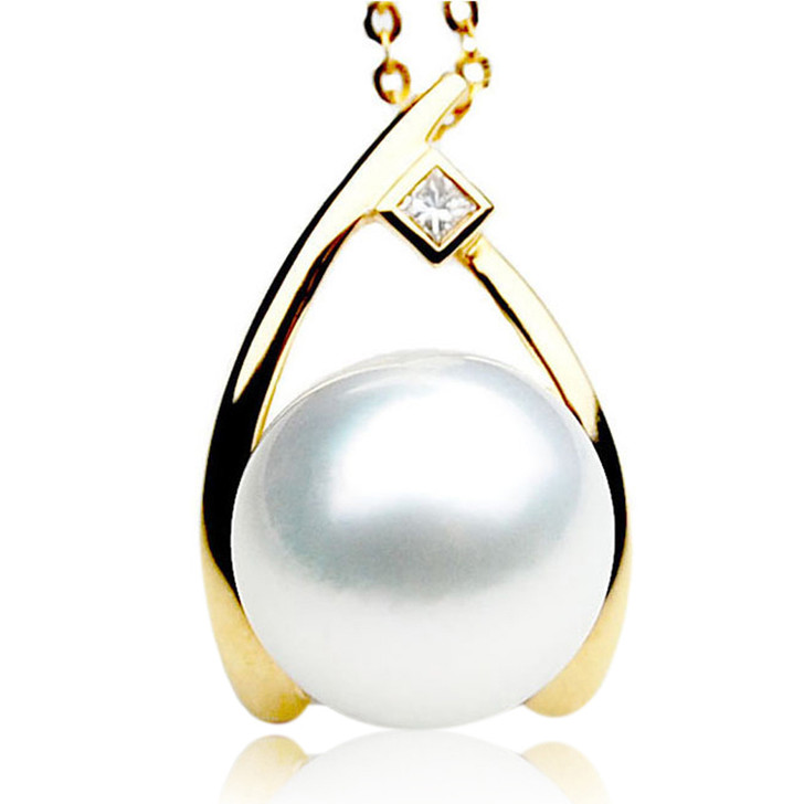 SP080 (AAA 13mm Australian South Sea pearl Pendant  Diamonds 18k Gold )