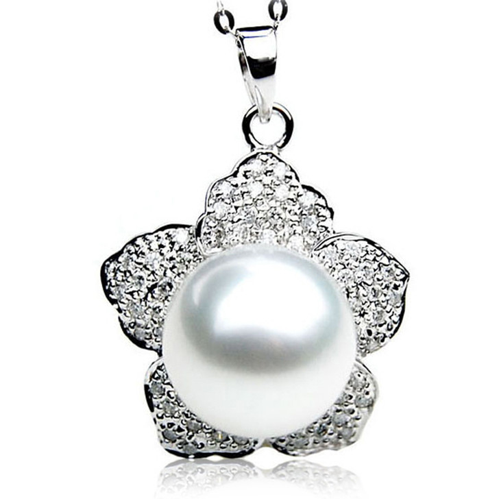 SP085 (AAA 13mm Australian South Sea pearl Pendant Diamonds 18k White Gold )