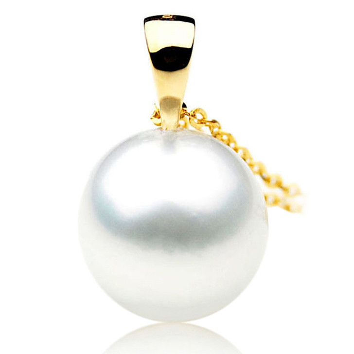 SP088 (AAA 14mm Australian South Sea pearl Pendant Diamonds  18k Gold )