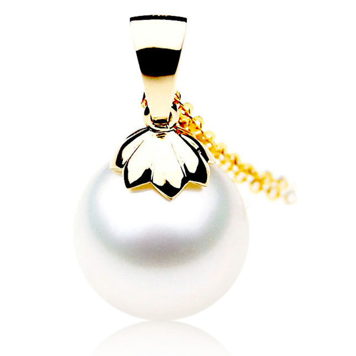SP094 (AAA 14mm Australian South Sea pearl Pendant Diamonds  18k Gold )