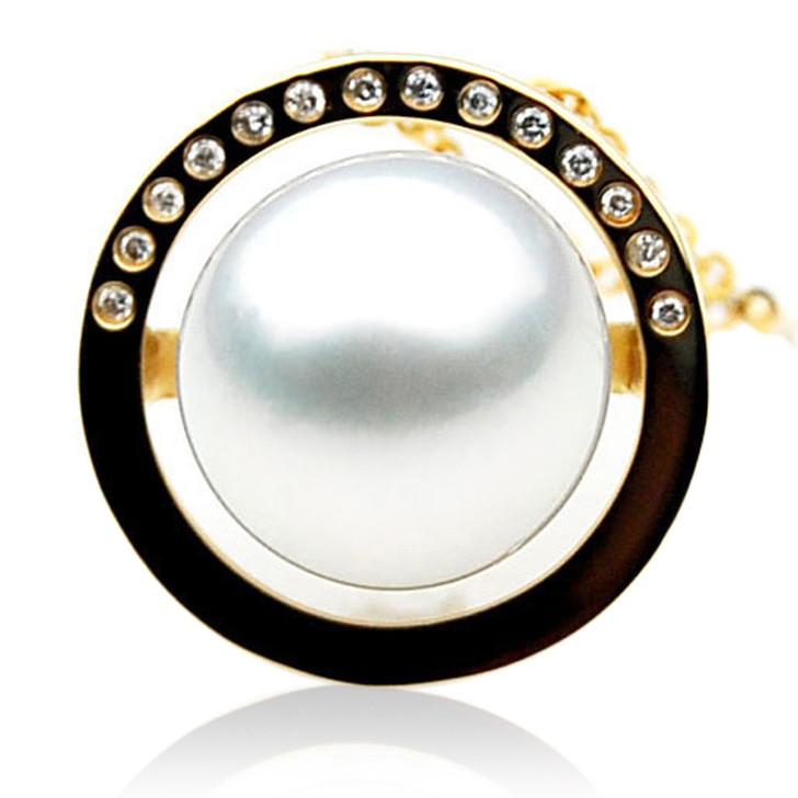 SP100 (AAA 14mm Australian South Sea pearl Pendant Diamonds 18k Gold )