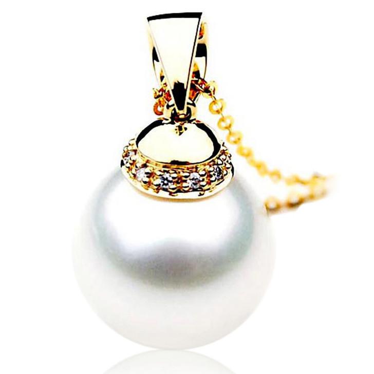 SP106 (AAA 14mm Australian South Sea pearl Pendant  Diamonds  18k Gold )