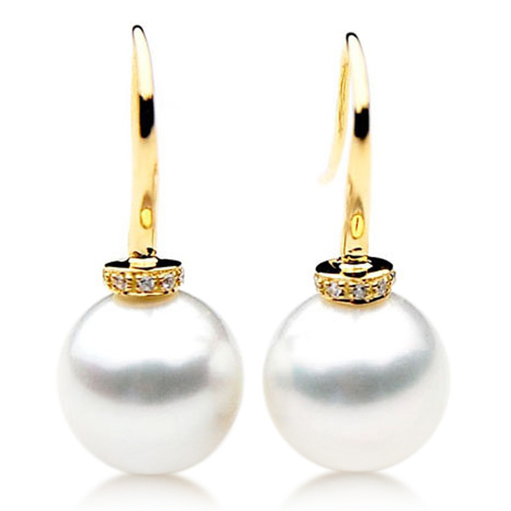 SE070b  (AAA 12mm Australian South Sea Pearl Earrings Diamonds in 18k Gold)