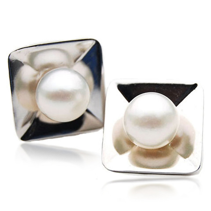 SE111  (AA 11mm Australian South Sea Pearl Earrings in Heavy Silver)